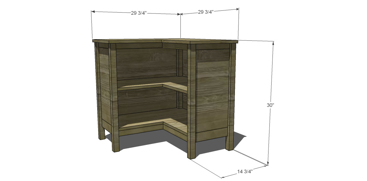 Dimensions for The Design Confidential for Free DIY Furniture Plans to Build a Pottery Barn Kids Inspired Cameron Corner Bookcase