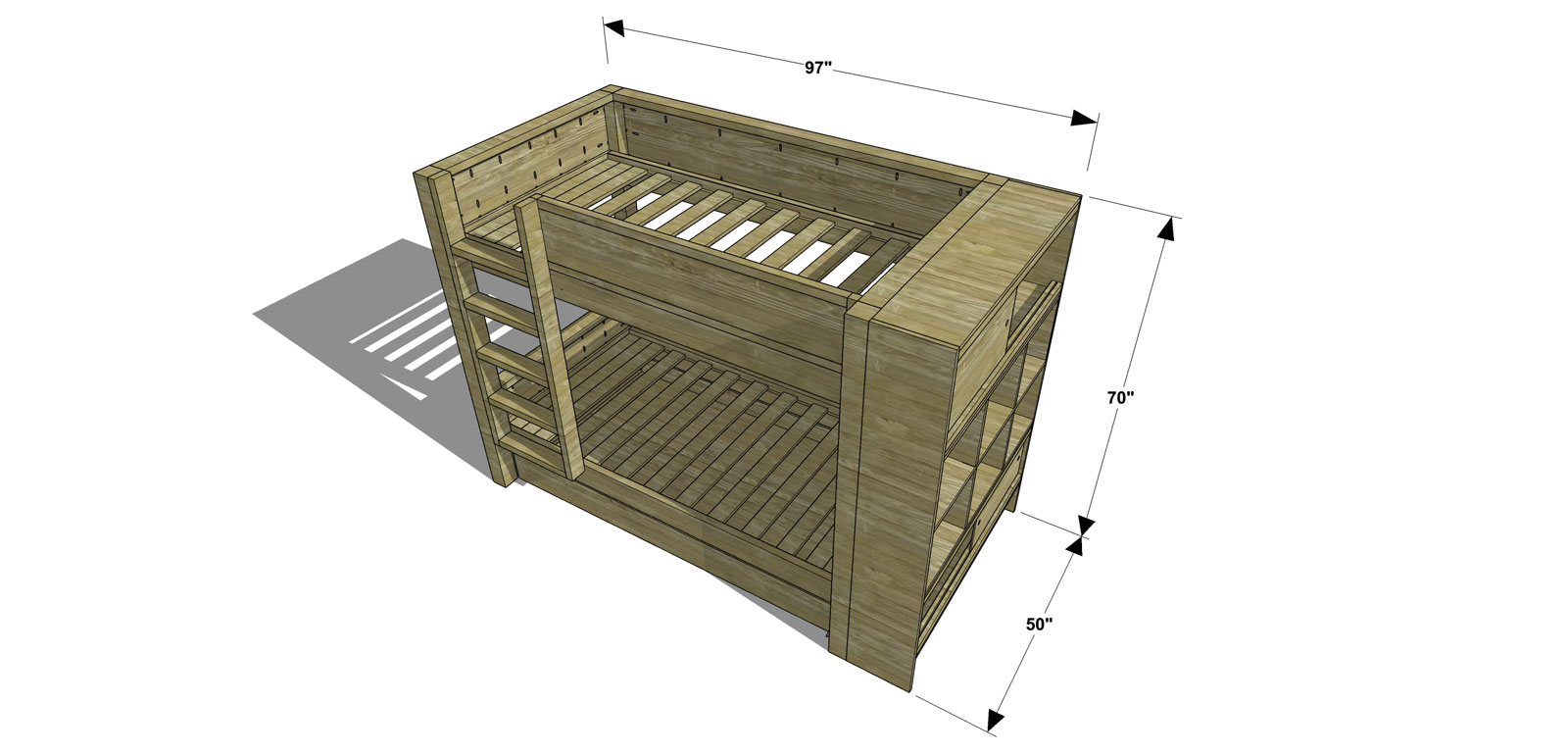 Dimensions for The Design Confidential Free DIY Furniture Plans // How to Build a Duet Bunk Bed