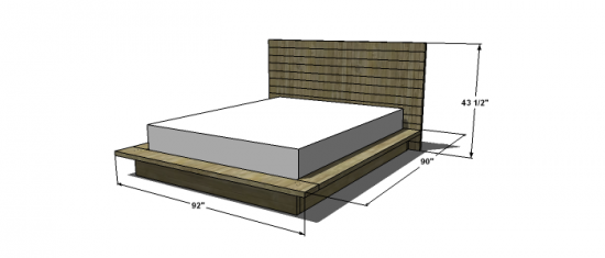 Free woodworking plans to build a viva terra inspired king for Height of platform bed