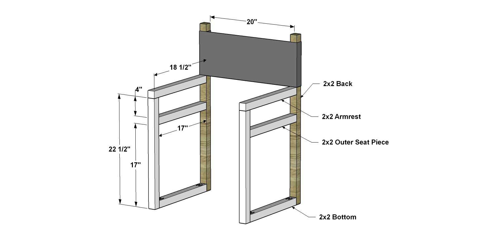 Back of director chairs - Cut The Pieces For The Fronts Arm Rests Outer Seat Pieces And Bottoms With The Kreg Jig Set For 1 1 2 Material Drill Pocket Holes In The Top Ends Of