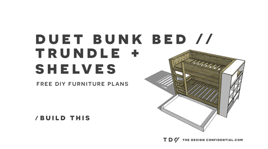 Free Diy Furniture Plans How To Build A Duet Bunk Bed Trundle And Bookcase The Design