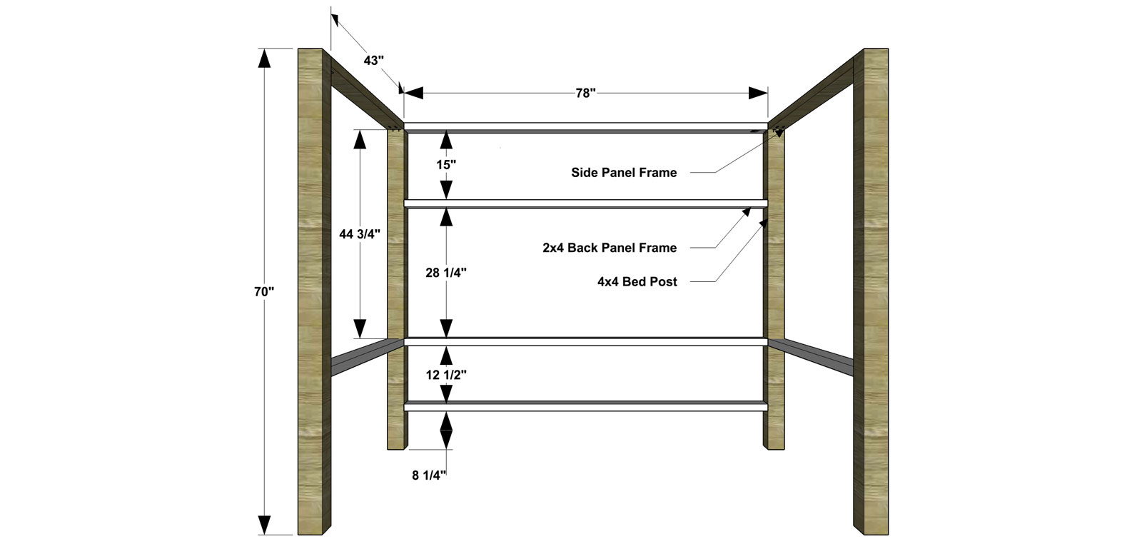 Posts and Frame for The Design Confidential Free DIY Furniture Plans // How to Build a Duet Bunk Bed