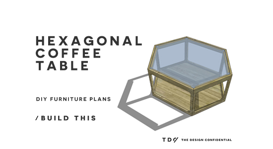 Wood And Glass Table Diy: Free DIY Furniture Plans // How To Build A Hex Wood