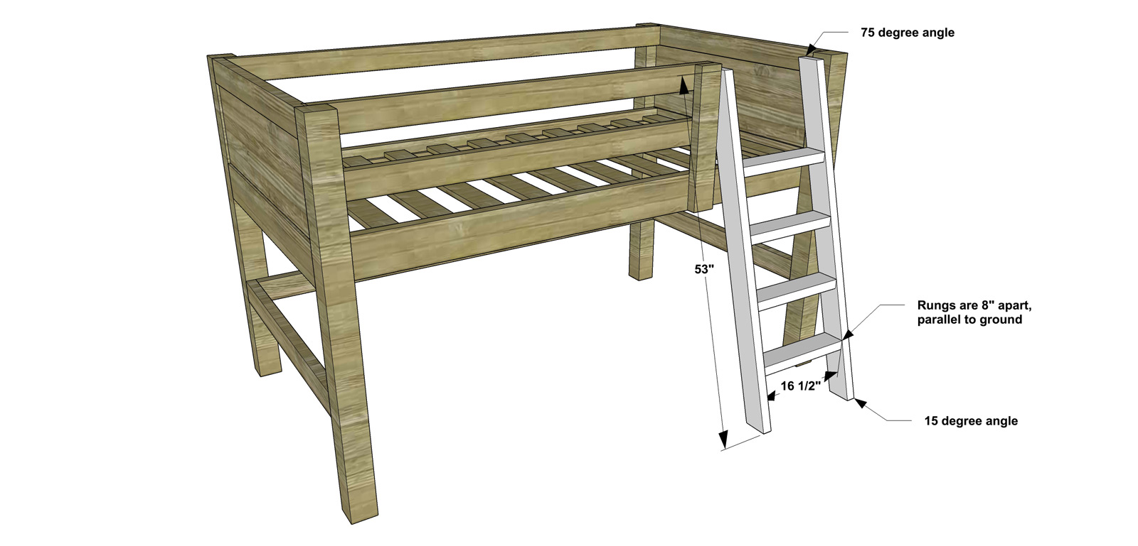 Beautiful Free DIY Furniture Plans How to Build a Twin Sized Low Loft Bunk with Roll Out Desk Bookshelf The Design Confidential