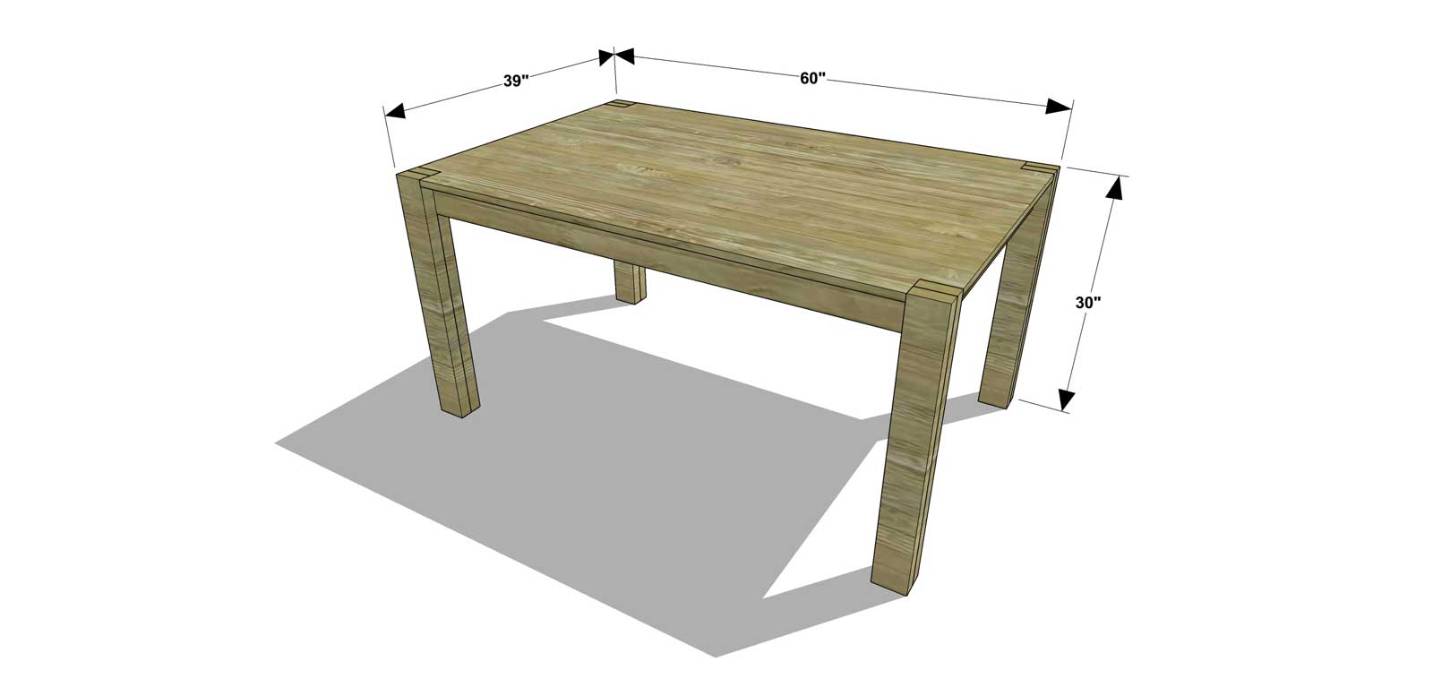 Free DIY Furniture Plans // How To Build A 60 Inch Rectangular Dining Table    The Design Confidential
