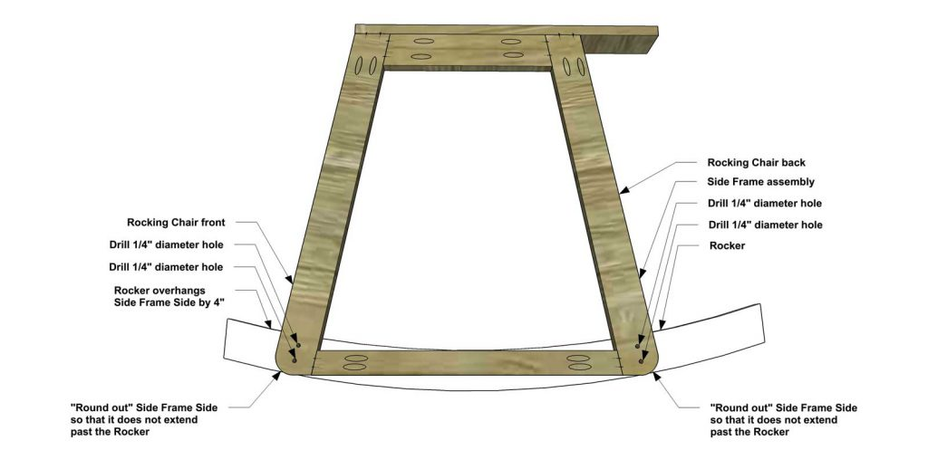 Rocking Chair Cut The Pieces For Rockers Draw Out Shape As Shown And With Your Jigsaw Make Sure You A Gentle Curve
