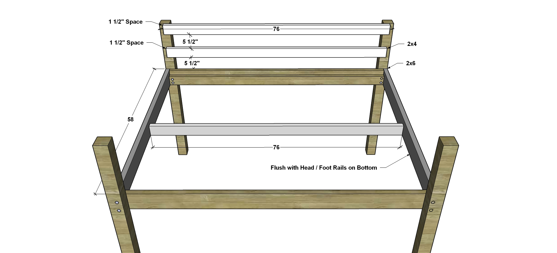 free woodworking plans to build a full sized low loft bunk the attach the side rails to the front and back rails then fasten the upper back rails to the back legs once those are in place fasten the center joist in