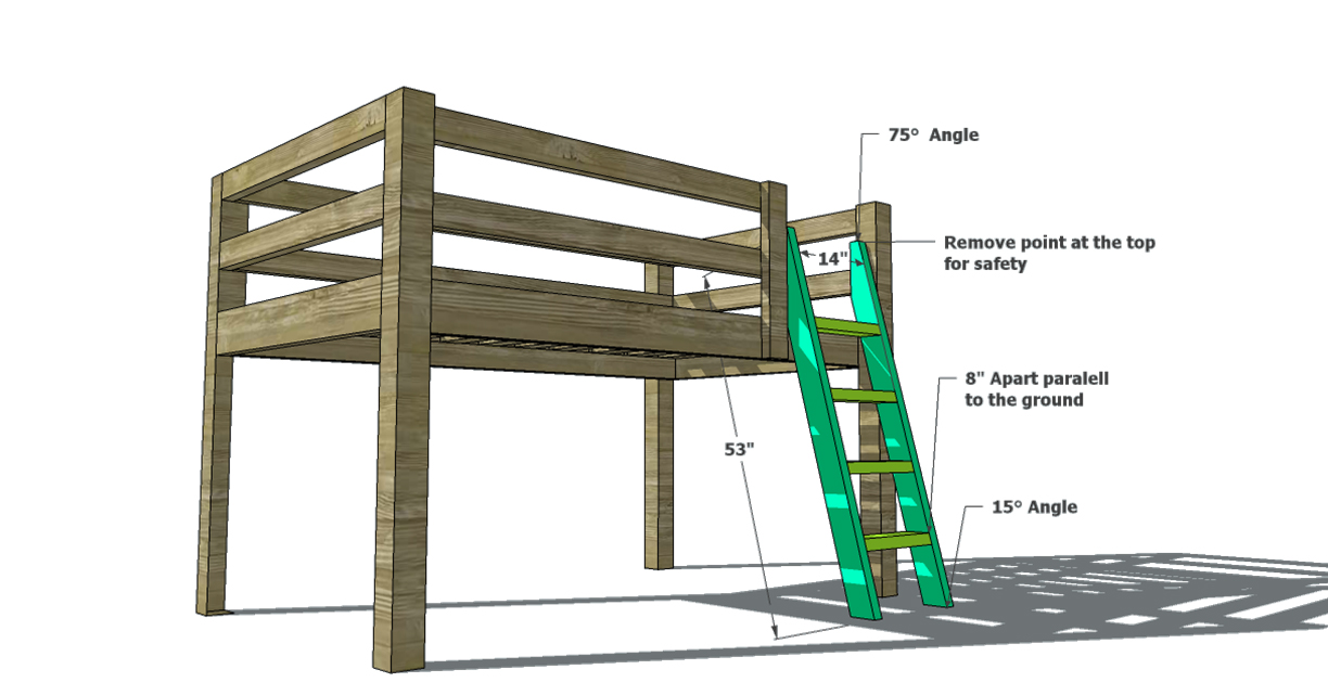 Nice Free Woodworking Plans to Build a Toddler Sized Low Loft Bunk The Design Confidential