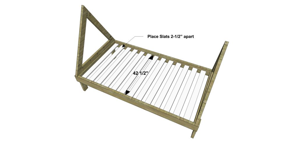 Nice Repeat this step twice once for each end of the bed Attach the Teepee Frame assemblies to the Bed assembly as shown with glue and ud pocket screws