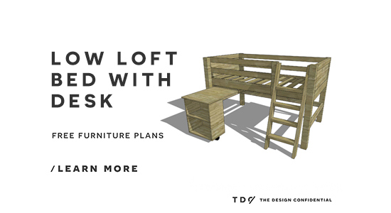 Free Diy Furniture Plans How To Build A Twin Sized Low Loft Bed Small Bookcase And Desk