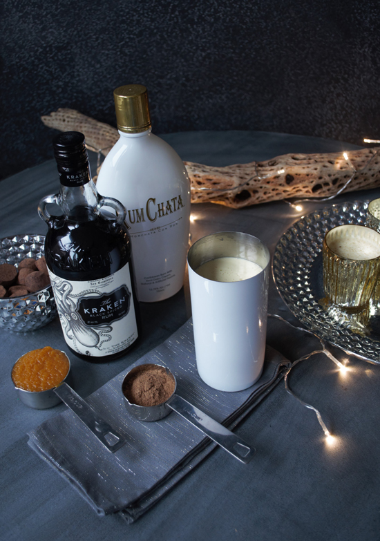 Shake Well and Garnish with Cyrstalized Sugar and Pumpking Spice for The Design Confidential Holiday Cocktail Recipe // Pumpkin Spice Eggnog Horchata
