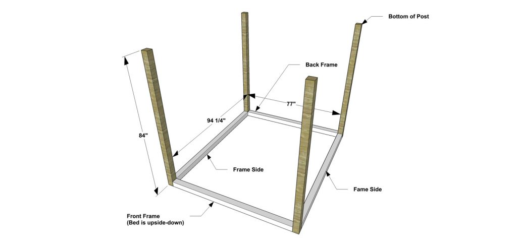 canopy bed posts. Cut the pieces for Posts  Front and Back Frame Sides Set Kreg jig 1 2 material drill pocket holes in each end of Free DIY Furniture Plans How to Build a King Sized Canopy Bed