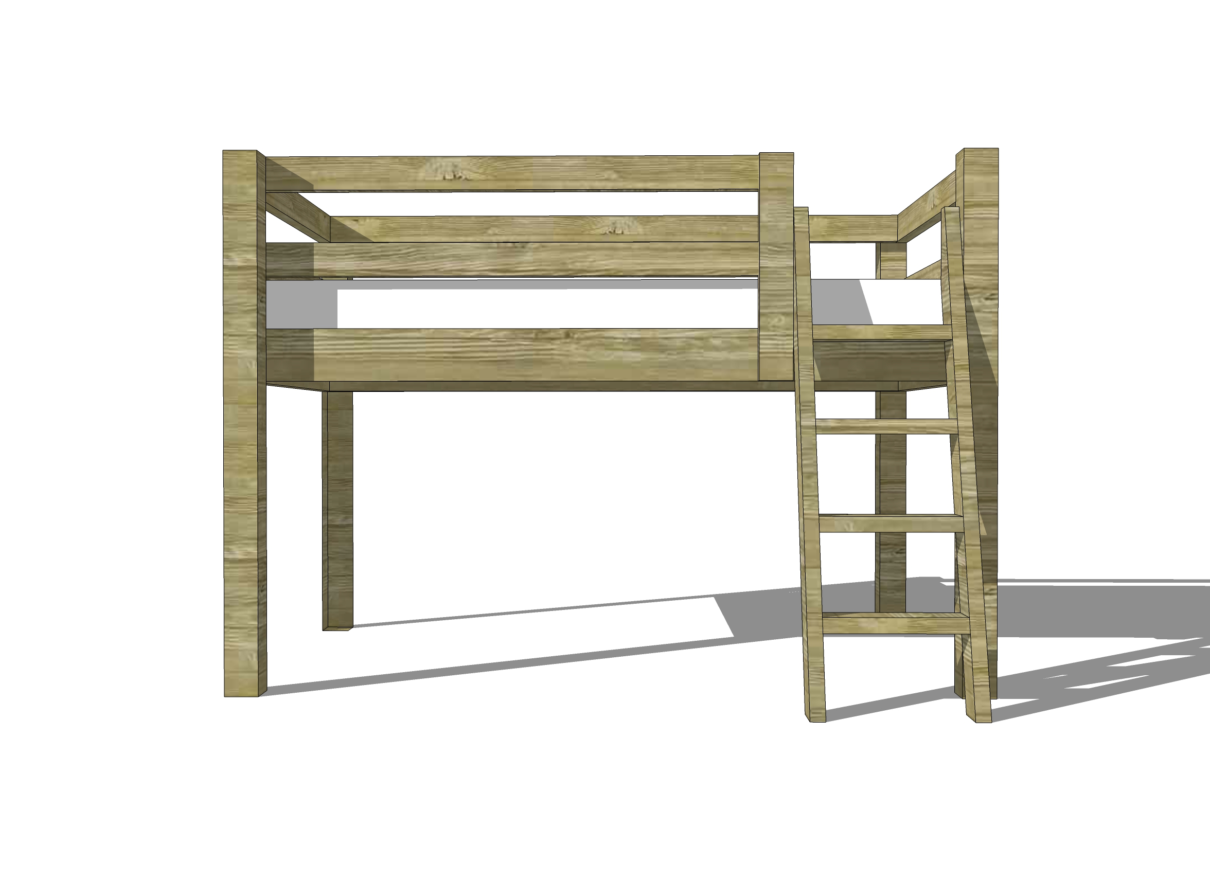 Free woodworking plans to build a twin low loft bunk bed for Bunk bed woodworking plans