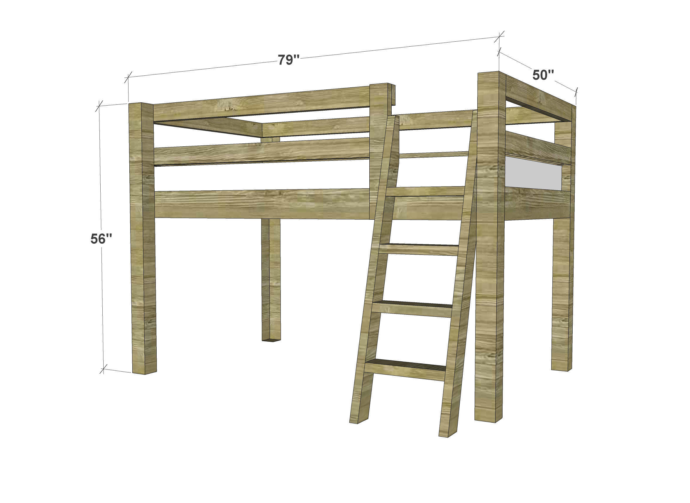 Free Woodworking Plans To Build A Twin Low Loft Bunk Bed