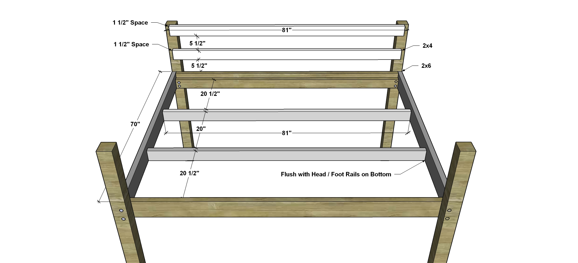 Perfect Free DIY Furniture Plans How to Build a Queen Sized Low Loft Bunk Bed The Design Confidential
