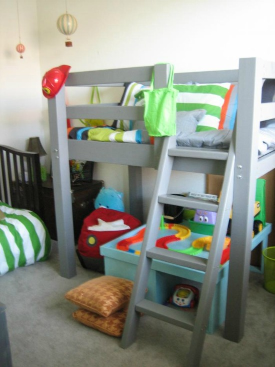 Awesome Free Woodworking Plans to Build a Toddler Sized Low Loft Bunk The Design Confidential