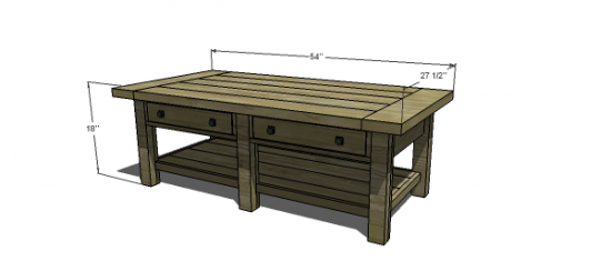 Free woodworking plans to build a potterybarn inspired Typical coffee table dimensions