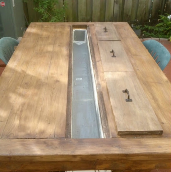Diy Patio Door Installation: Builders Showcase: Rustic Outdoor Table With Cooling Tray